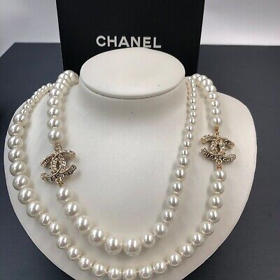 £218 • Buy Auth-chanel- Pearl 6 Cc Logo Diamante Dual   Necklace Ultra Rare Limited