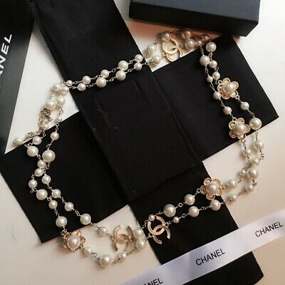 £225 • Buy Chanel Faux Pearl Necklace With Gold Toned CCs