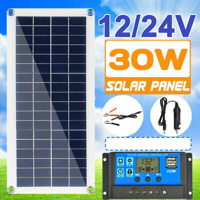 £18.99 • Buy 30W LCD Solar Panel Flexible USB 12V Battery Charger Kit Boat Car Controller NEW