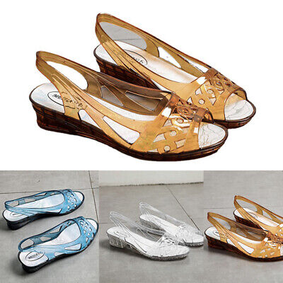 £8.99 • Buy Womens Ladies New Flat Ballerina Peeptoes Sandals Summer Jelly Pumps Shoes Size