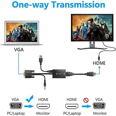 £4.99 • Buy 1080P HDMI Female To VGA Male With Audio Output Cable Converter Adapter Lead UK