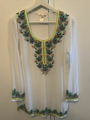 £9.99 • Buy Lucky And Coco White Kaftan With Ornate Beading Size Medium Beach Holiday Summer