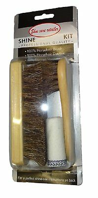 $ CDN17.04 • Buy 2 X Premium 100% Horsehair Shoe Care Kit With Brushes And Buff Cloth