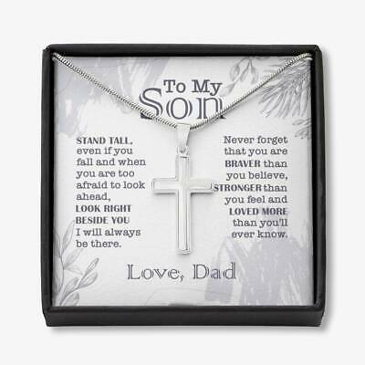 £20.50 • Buy To My Son Stand Tall Even If You Fall Cross Necklace Gift From Dad