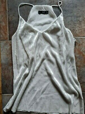 £2 • Buy Shiny Silver Camisole Evening Top Size 12