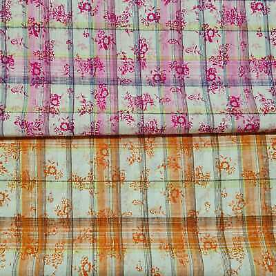 £3.79 • Buy Cotton Lurex Fabric Crinkled Floral And Checked Printed 51  Wide