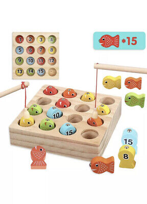 £9.99 • Buy Wooden Fishing Game, Magnetic Letter Fishing Toys Learning Educational