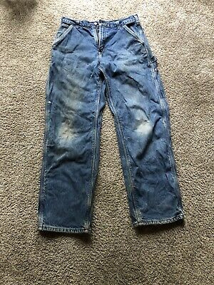 $13 • Buy Carhartt Flannel Lined Carpenter Blue Jeans Mens Size Measures 31x32