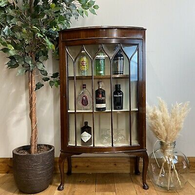 £165 • Buy Vintage China Cabinet / Cocktail Cabinet /Glazed Mahogany Display / Gin Cupboard