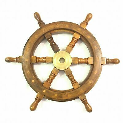£25.60 • Buy 18  Wall Hanging Wooden Ship Steering Wheel Pirate Décor Brass Fishing Wall Boat