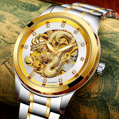 £28.98 • Buy Luxury Men Gold Dial Dragon Skeleton Automatic Mechanical Wrist Watch Father Day