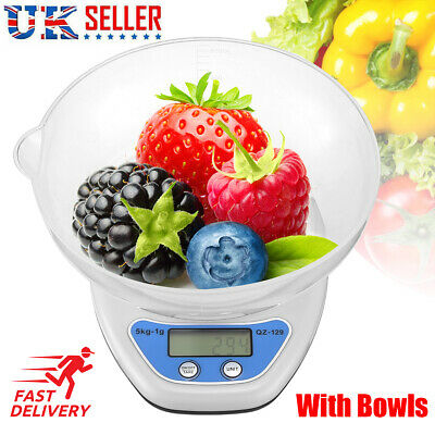 £4.40 • Buy 5Kg Digital Kitchen Scale Electronic Household Food Cooking Weighing Bowl Scales