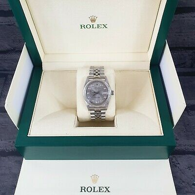 $ CDN7464.29 • Buy Mens Rolex Oyster Perpetual Datejust In Steel & White Gold - Grey Diamond Dial