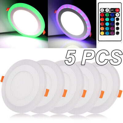 £13.99 • Buy 5PCS Dual Color LED Panel Recessed Ceiling Down Light Spotlight Round Cool White
