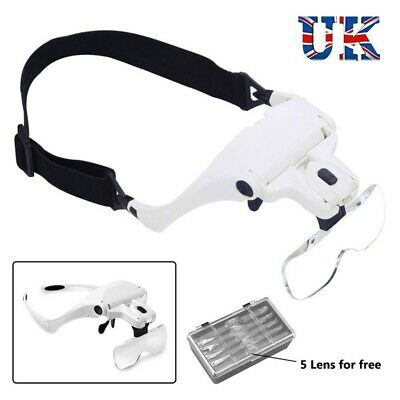 £9.99 • Buy Headband Magnifier 2 LED Adjustable Head Mounted Magnifying Glass With 5 Lens