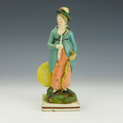 £17 • Buy Antique Staffordshire Pottery - Pearlware Lady Archer Figure - Unusual!