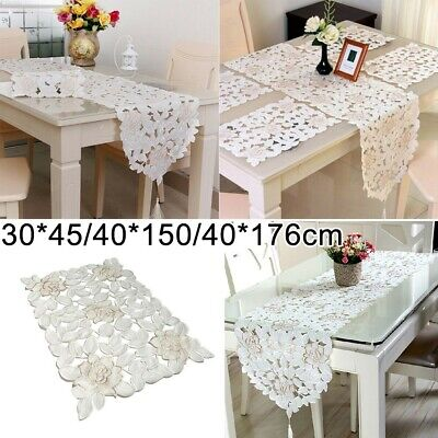 £6.32 • Buy White Embroidered Lace Tablecloth Dining Table Runner Cover Mats Wedding Party