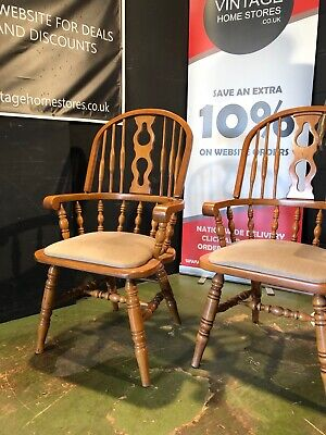 £35 • Buy Can Deliver Country Farmhouse Windsor Style Beech Carver Dining Chair (2 Avail)