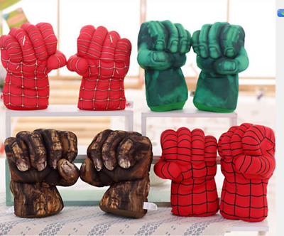 £11.99 • Buy 1Pair Hulk Spider-Man Plush Hands Boxing Fist Glove Cosplay Props Kids Toys Gift
