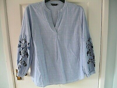 £14.99 • Buy NEW LOOK SIZE 12 Top BLOUSE BOHO Shirt EMBROIDERED BLUE FLORAL Peasant