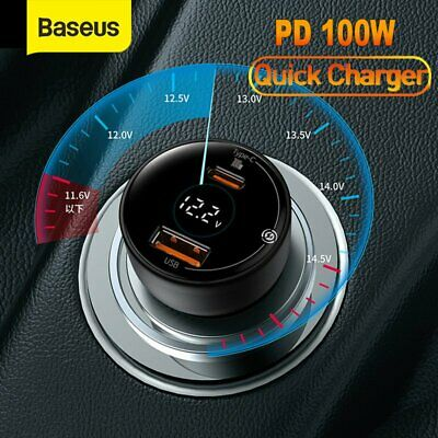 AU39.99 • Buy Baseus PD 100W USB Type C Car Charger Quick Charging Adpater For IPhone Samsung
