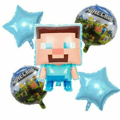 AU11.38 • Buy MINECRAFT Gaming FOIL BALLOONS For 5 Piece Party Large Set Birthday Decoration