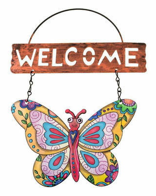£5.15 • Buy Butterfly Metal Wall Art Outdoor Garden Wall Fence Decor Hanging Welcome Sign UK