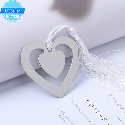 £3.50 • Buy Heart Shaped Hollow Metal Bookmark With Tassel For Box Book Reading Decor UK