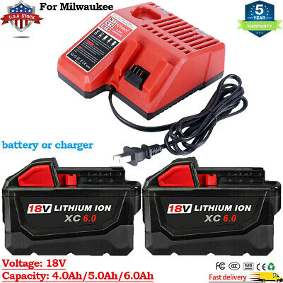 $66.01 • Buy For Milwaukee M18 XC 5.0/6.0 AH Extended Lithium Battery 48-11-1860 Fast Charger