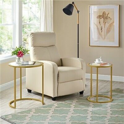 £41.99 • Buy Round Nesting Side Table End Table With Metal Frame And Glass Top, Mustard Gold