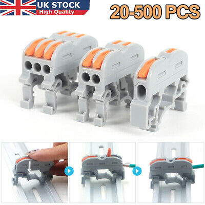 £9.88 • Buy 20-500x Universal Wiring Terminal Din Rail Wire Connector Push-in Wago Conductor