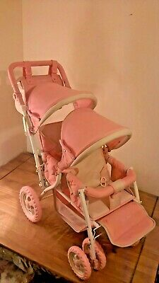 £40 • Buy Kristal Dolls Twin Tandem Pram In Pink & Cream Excellent Condition Snowflake