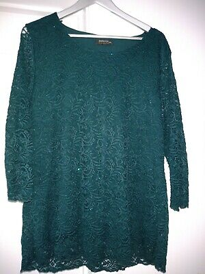 £1.90 • Buy Forever By Michael Gold Ladies Sparkly Emerald Lace Top - Size XXL