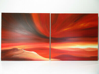 £99.99 • Buy Pete Rumney - Touching Heaven - Diptych Double Canvas - Signed - 2004