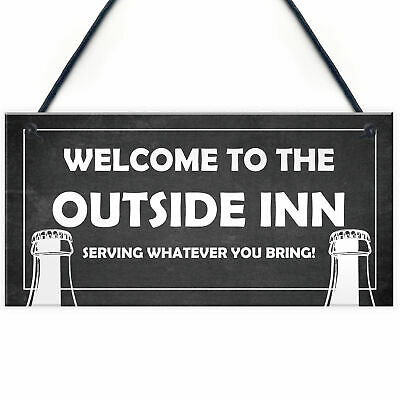 £3.99 • Buy Outside Inn Bar Signs For Outdoor Hanging Wall Door Plaque Man Cave Alcohol Gift