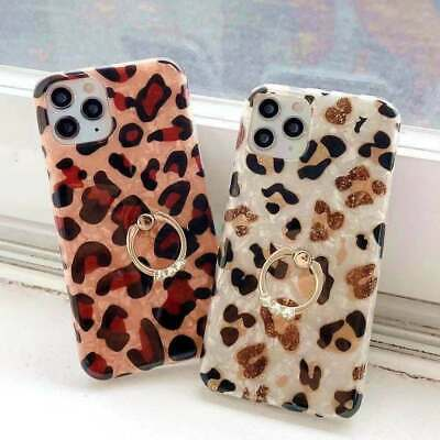 AU12.99 • Buy Leopard Print Case For IPhone 11 12 XR Samsung S8 S9 S20 Note 8 With Ring Holder