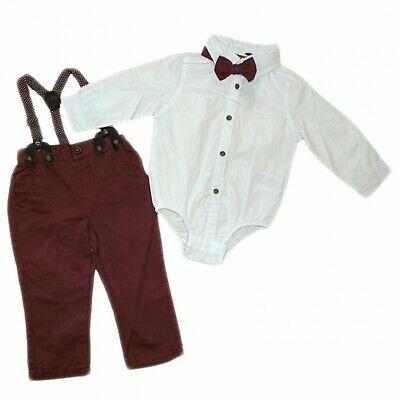 £16.99 • Buy Baby Boy Little Gent Formal Outfit- Bodysuit Shirt Bow-tie Braces & Trousers New