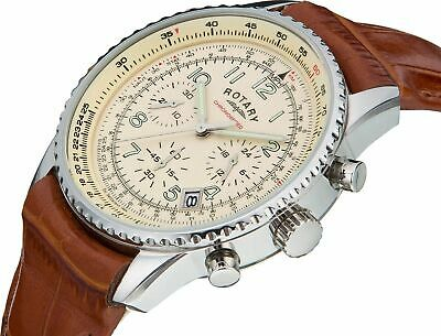 £57.99 • Buy Rotary Men's GS03447/08 Chronograph Chronospeed Cream Dial Brown Leather Watch