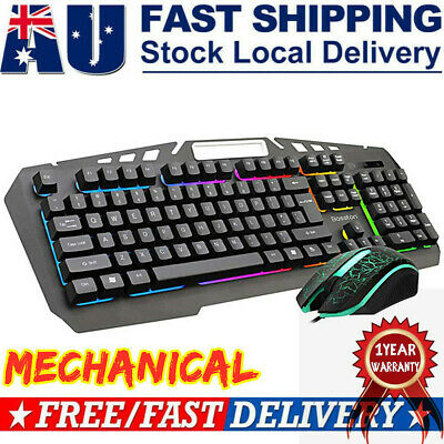 AU19.17 • Buy Bosston Keyboard & Mouse Set Gaming For PC Laptop Rainbow Backlight Usb Wired