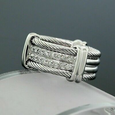$286.18 • Buy Men's Wide Cable Rope Band Enagagement Wedding Ring 0.7Ct Diamond 14K White Gold