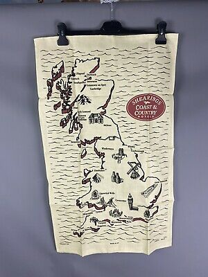 £9.99 • Buy Vintage Retro Tea Towel Shearings Cooast & Country Hotels Locations Map UK