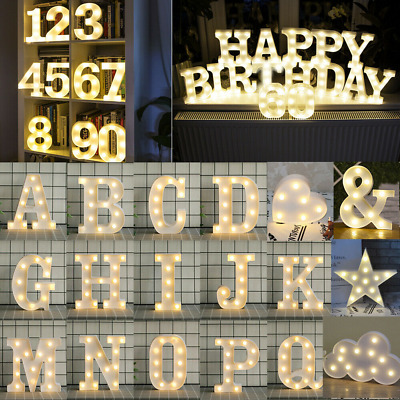 £6.80 • Buy LED Alphabet Letters Lights Large Light Up Plastic Numbers Party Birthday Sign