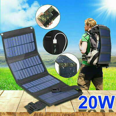 £14.80 • Buy 20W Folding Solar Panel Power Bank USB Battery Charger Outdoor Hiking Camping