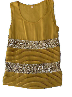 £4 • Buy Yellow Golden Sequins Ladies Top Size S/M Party/shimmer/