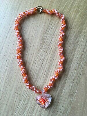 £7 • Buy Handmade Beaded Necklace With Seed Beads And Glass Heart Shaped Flower Pendant