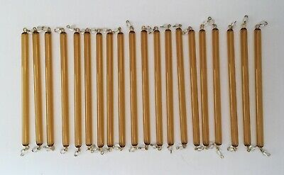 £17.99 • Buy 20 X Old Murano Amber Glass Tubes / Rods With White Beads Chandelier Drops Parts