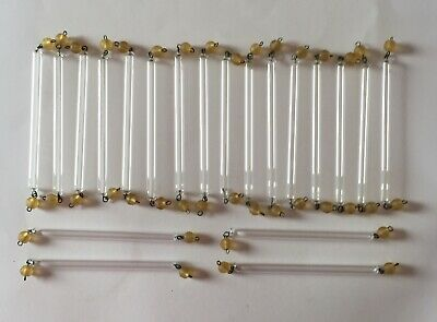 £16.99 • Buy 20 X Old Murano Clear Glass Tubes / Rods With Amber Beads Chandelier Drops Parts