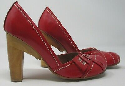 £21.99 • Buy Harlot Size 3 (36) Red Leather Round Toe Court Shoes With Wooden High Heels