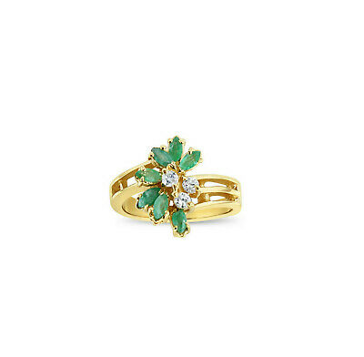£279.66 • Buy Emerald & Diamond Cocktail Ring 1.00cttw - 14k Yellow Gold - Gift For Her, Wife