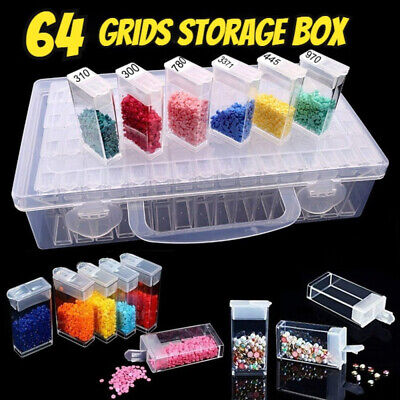 AU14.49 • Buy 64 Slots Diamond Embroidery Painting Storage Containers DIY Bead Drill Tool Box